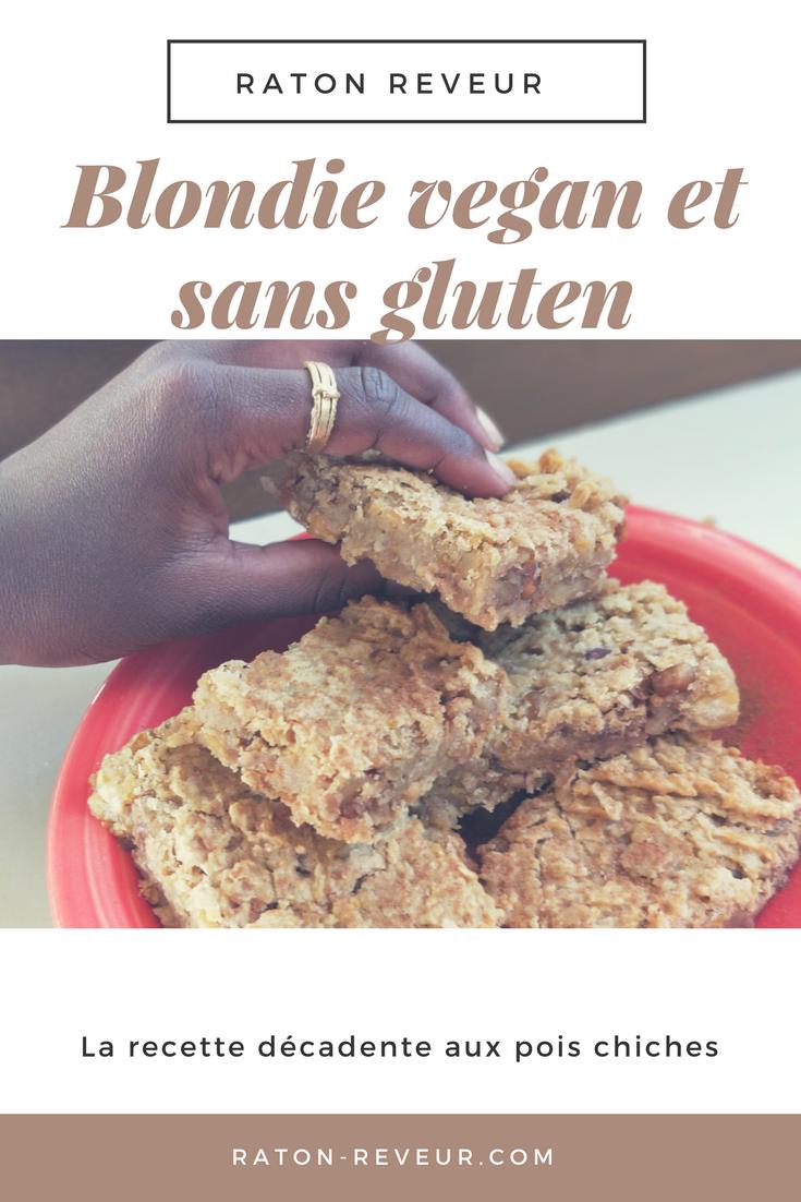 recette blondie brownie vegan gluten free raton reveur blog